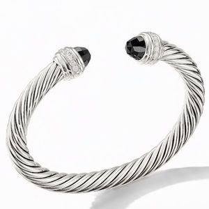 DY 7MM Black Onyx & Diamond Silver Bracelet